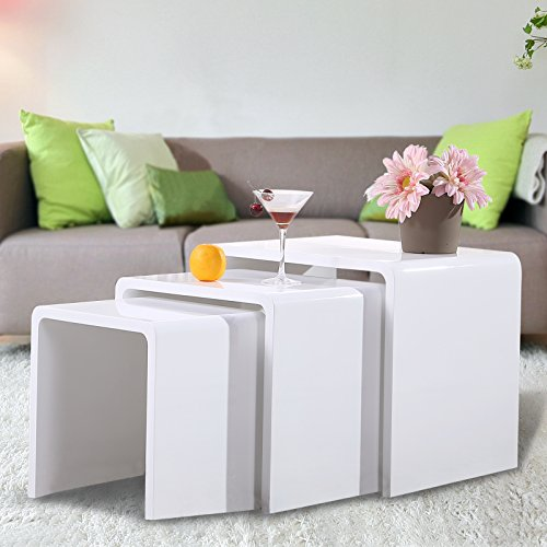 Nurxiovo High Gloss Nest of 3 Coffee Table Side End Table Living Room Furniture White - Living Room Mdf Table