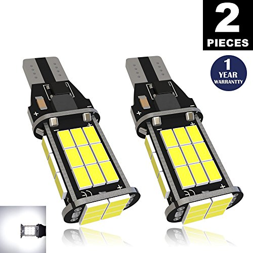 LUYED (2) Extremely Bright 1600 Lumens Backup Reverse Lights 921 912 W 16W 3020 30-EX Chipsets, Xenon White, No Hyper (Mazda Truck New Dashboard)