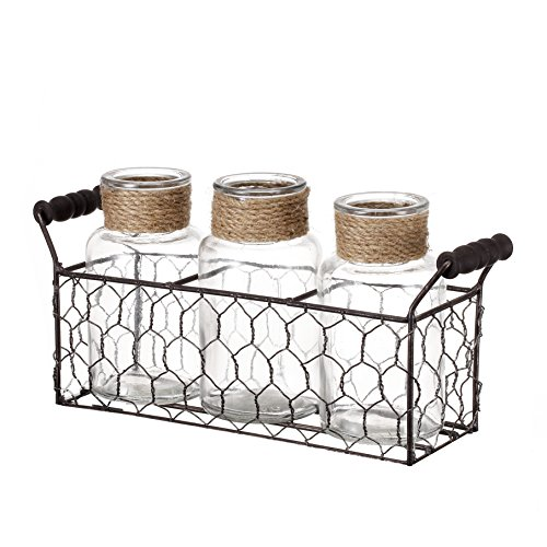 V-More Rustic Glass Bottle Flower Bud Vase with Chicken Wire Basket and Jute Rope 5.25-inch Tall for Home Decor Wedding Party and Celebration (Set of 1) (Rope Vase)