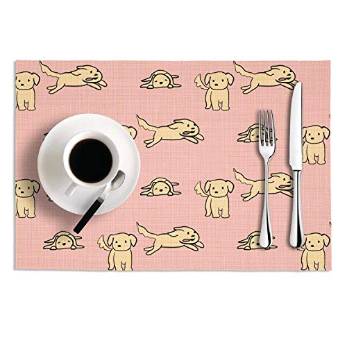 Placemats Set of 2 Heat Insulation Stain Resistant Placemat for Dining Kawaii dog pet Woven Vinyl Washable Table Mat ()