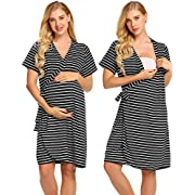 Ekouaer Women's Maternity Nursing Robe,Striped Short Sleeve Pregnant Pajamas(Black,L)