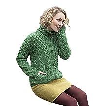 Ladies Irish Pocket Diamond Wool Zip Up Sweater