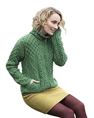 Ladies Irish Pocket Diamond Wool Zip Up Sweater (Zipper Wool Sweater)