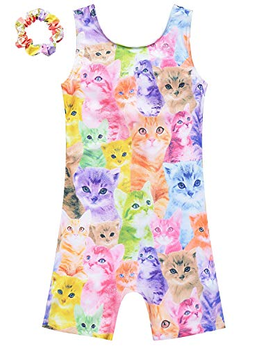 Gymnastics Leotard for Girls Cat Body Suits Sparkly Outfit for Kids Size 6 7 -