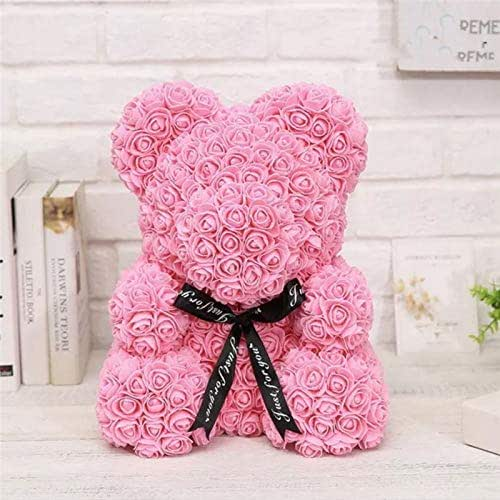 Mascot Rose Flower Soap Bear 25Cm Plush Toy Scented Bath Soap Romantic Lovers Valentine's Day Birthday Gift Wedding Present Pink Color
