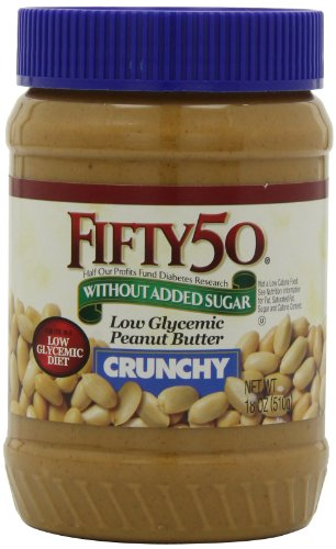 (Fifty-50 Peanut Butter Crunchy, With Out Added Sugar  18-Ounce Units (Pack of 6))