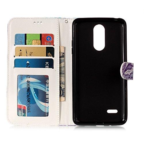 LG K8 2017 [EU Version] Hülle, Chreey Premium PU Leder Tasche Klapphülle 3D Muster Kreatives Design Brieftasche Handyhülle mit Magnet Kartenfächer Standfunktion Schutzhülle Bumper Etui [Blauer Mandala Schädel