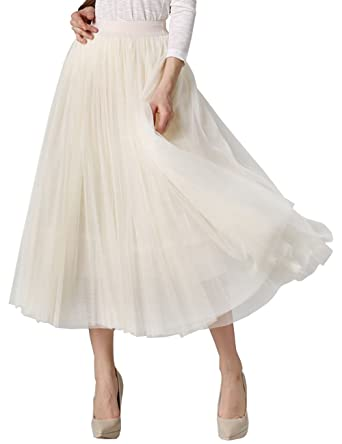cee56c61d MORYSONG Women's A Line Ankle Tea Length Tutu Tulle Overlay Skirt (Apricot)  at Amazon Women's Clothing store: