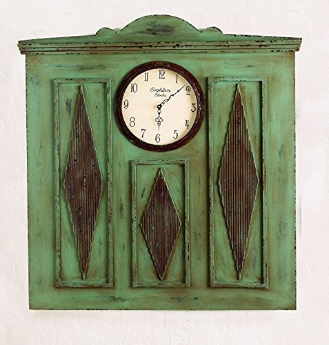 Cottage Green 42'' Wall Clock | Architectural Carved Wood Rustic distressed Shabby Chic
