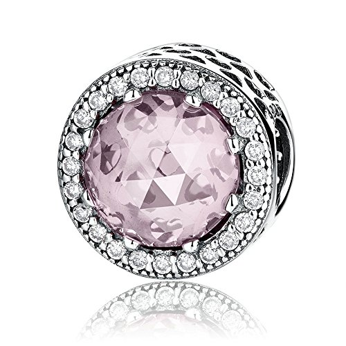 The Kiss Radiant Hearts with Blush Pink Crystal and Clear CZ 925 Sterling Silver Bead Fits European Charm Bracelet