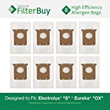 8 Electrolux S & Eureka OX Micro Allergen Bags. Designed by FilterBuy to Replace Eureka Part # 61230.