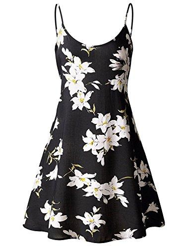 FASHION PARK Stylish Women's Sleeveless Adjustable Strappy Summer Swing Dress Large (Quirky Fancy Dress Ideas)
