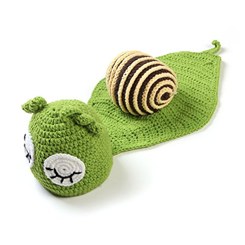 Green Snail Knitting Suits Baby Photography Prop Knitted Crochet Costume Hat Caps -