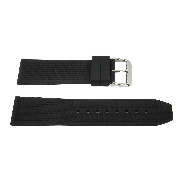 ブラック22 mm Textured Squareゴムシリコン腕時計ストラップ  B0751LYLJ6