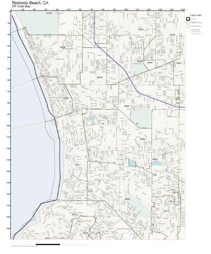 Amazon Com Zip Code Wall Map Of Redondo Beach Ca Zip Code Map