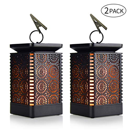 Solar Lights, Solar Lantern Dancing Flame Outdoor Hanging Lantern Solar Powered Waterproof Umbrella LED Night Lights Dusk to Dawn Auto On/Off Decorative for Garden Patio Deck Yard Path (2)