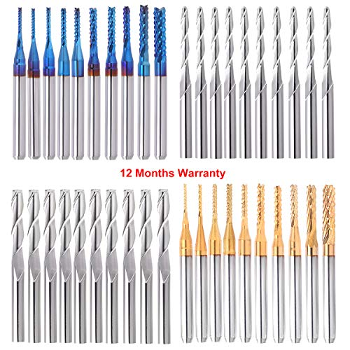 "40Pcs End Mill Bits Set 1/8"" Shank, Mcwdoit CNC Router Bits Cutting Milling Tool Engraving Cutter Including Flat Nose/Ball Nose End Mill, Nano Blue Coat/Titanium Coat 2 Flute CNC Router Bits"