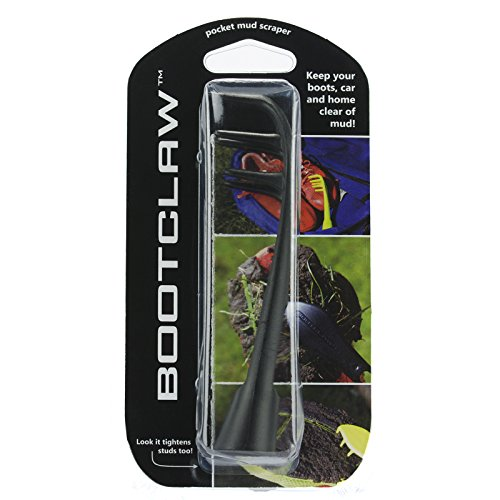 Bootclaw - The Pocket Mud Scraper That Can Also Tighten Studs! Ideal for Football/Soccer/Rugby Cleats, Golf Shoes, Baseball Spikes, and Hiking Boots (Black)