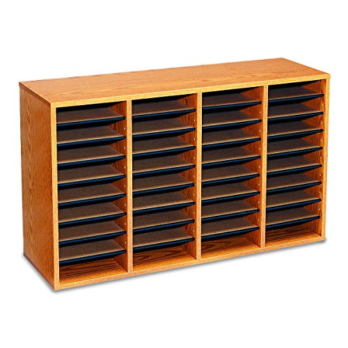 Safco Products 9424MO Wood Adjustable Literature Organizer, 36 Compartment, Oak by Safco Products