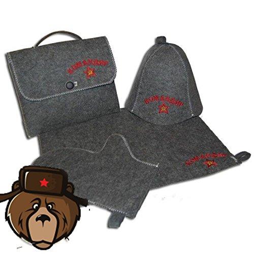 RussianBear Gray Wool Mixture Kit For Russian Banya And Sauna Bag Glove Hat And Mat