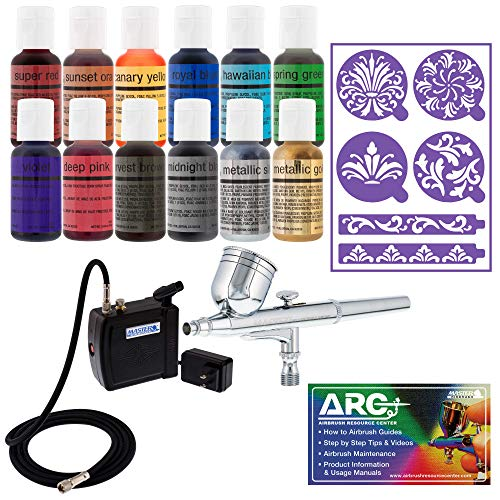 Master Airbrush Cake Decorating Airbrushing System Kit with a Set of 12 Chefmaster Food Colors, Gravity Feed Dual-Action Airbrush, Air Compressor, Wilton Stencils and How-to-Airbrush ARC Link Card