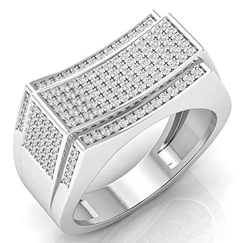 0.65 Carat (ctw) 14K White Gold Round Diamond Men's Hip Hop Anniversary Wedding Band (Size 8.5) by DazzlingRock Collection