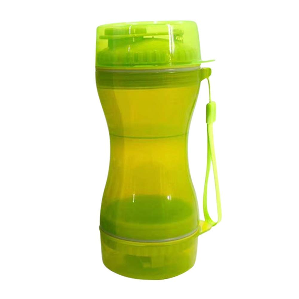 Green Dog Water Bottle, 2 in 1 Portable Pet Food Water Container for Travel, Walking, Hiking, Running, Outdoor