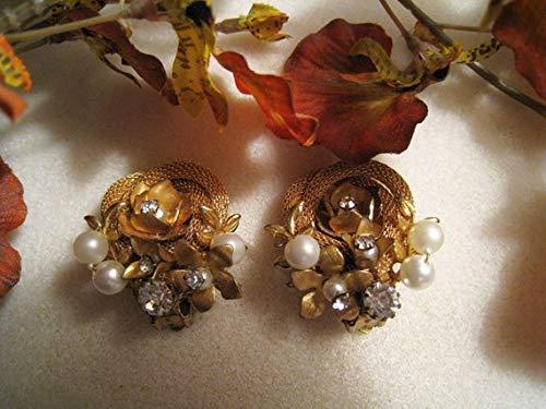 hongnguyen Gold, Pearl and Rhinestone Earrings - Similar to Miriam Haskell in Looks - Clip Earrings - Statement Look - Vintage