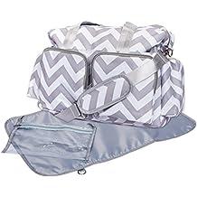 Trend Lab Chevron Deluxe Duffle Diaper Bag, Gray/White