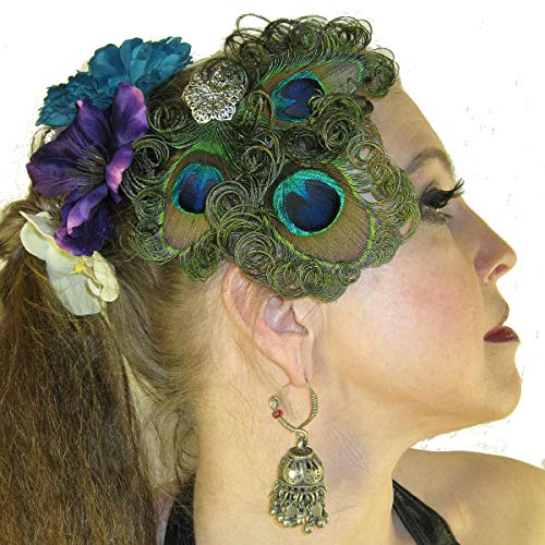 Peacock Feather Tribal Fusion Fascinator Belly Dance Headpiece Boho Peacock Hair Jewelry with hand-curled feathers and filigree metal flower decoration in silver