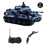 Fun-Here mini RC Tank with USB charger cable Remote Control Panzer tank 1:72 German Tiger I with Sound, Rotating Turret and Recoil Action When Cannon Artillery Shoots (Blue B)