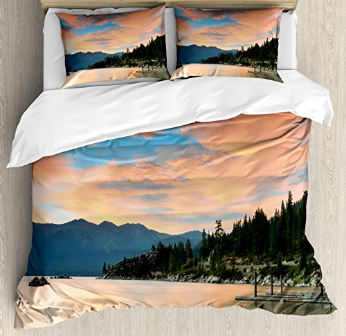 Lake Duvet Cover Set Queen Size by Ambesonne, Romantic Sunset at Lake Tahoe Peaceful Shoreline Sierra Nevada United States, Decorative 3 Piece Bedding Set with 2 Pillow Shams, Salmon Green Ivory (Nevada Set Comforter)