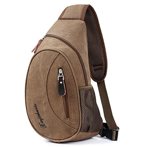 Sling Backpack Coffee Outdoor Unbalance Gym Bike Lofun khaki Bag Sack For Satchel Chest Cycling Shoulder Fd6Ywq