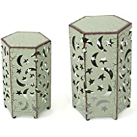 Carusa Indoor 12 and 14 Inch Crackle Green Iron Moon and Stars Side Tables
