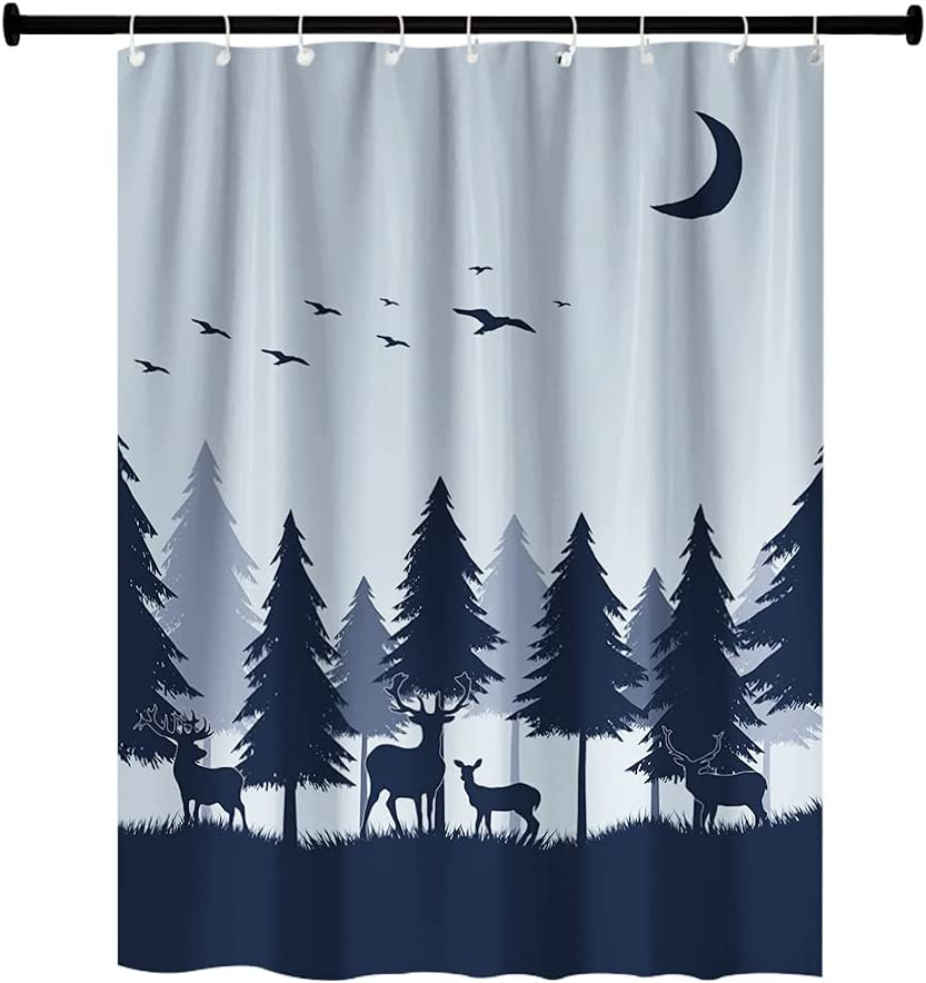RV Shower Curtains Forest Mountain Happy Camper, Cloth Fabric RV Bathroom Decor Curtain Sets with Hooks 47WX64H Inches (Grey Blue)