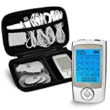 CUH Rechargeable TENS Unit Upgraded 16 Mode Massager with 8 Pad Independent A or B Channel Free Case