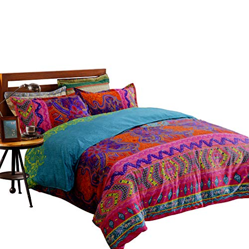 - TEALP Bohemian Duvet Covers Gypsy Bedding Sets with Zipper Closure (Twin, 1 Duvet Cover +2 Shams)