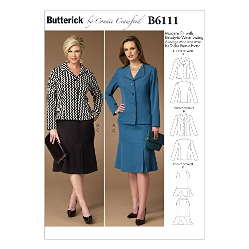 BUTTERICK PATTERNS B6111 Misses'/Women's Jacket and Skirt, Size MIS