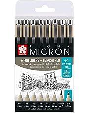 Sakura Pigma Micron 6 zwarte fineliners + 1 brushpen en 1 pigment pen