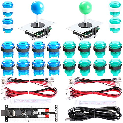 Easyget 2-Player DIY Arcade Kit Zero Delay 2-Player USB Encoder + 2X Joystick + 20x LED Arcade Buttons for PC, Windows, MAME, Mac & Raspberry Pi Retro Gaming DIY (Blue & Green)