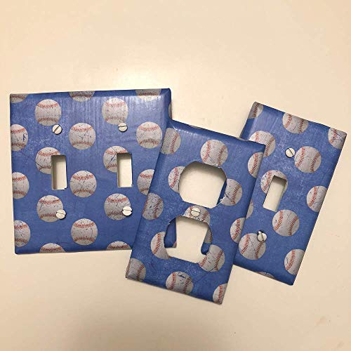 Distressed Baseball BLUE sport,boys girls,teen room,playroom, light plate cover,light switch plate, outlet cover, outlet plate, home decor]()