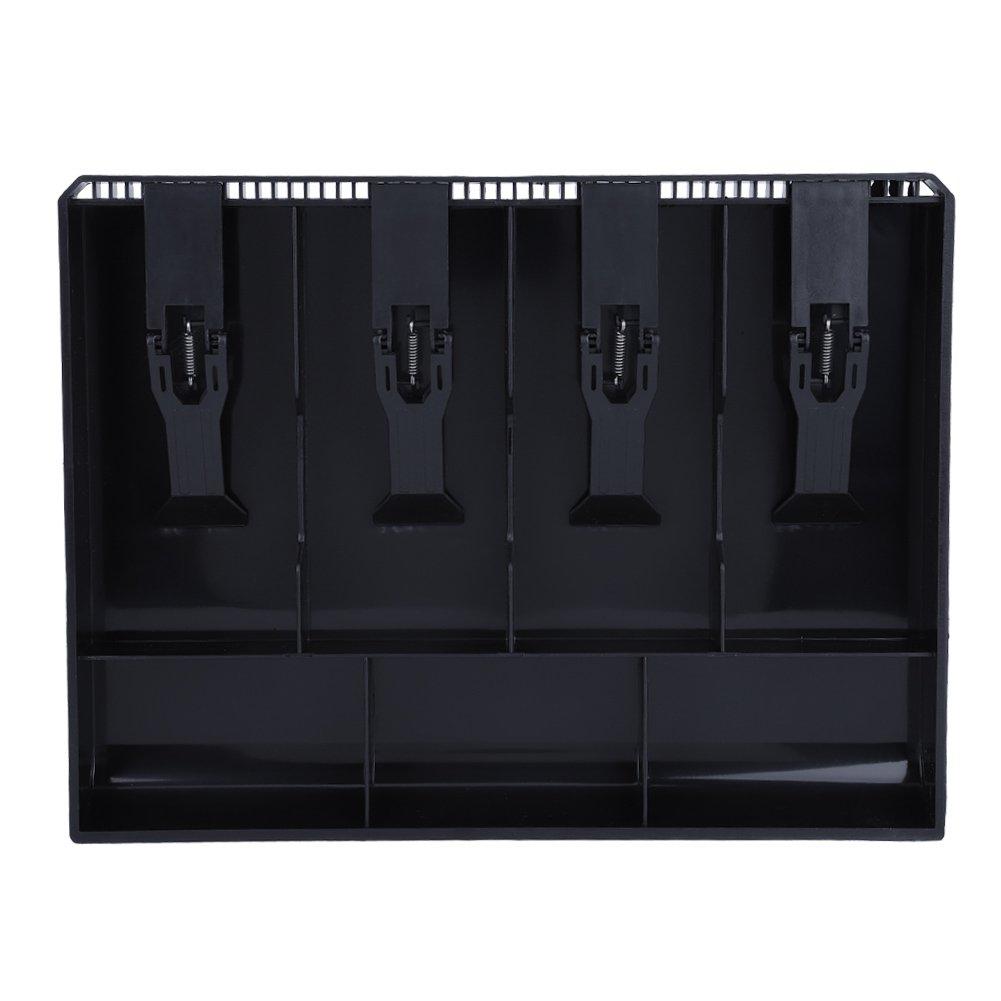 Cash Drawer Register Insert Tray, Replacement 4 Bills 3 Coins Money Storage Box Plastic 12.6 x 9.6 x 1.4inch Black & White(Black)