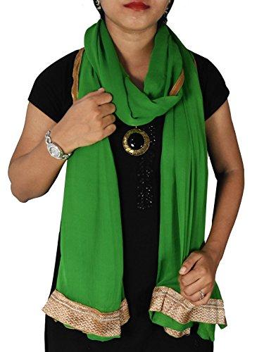 Stole Dark Green Women Shoulder Wrap Chunni Semi Chiffon With Golden Border Hijab Women Scarf Veil Clothing Gift by Stylob