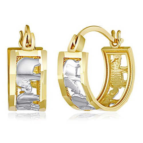 Wellingsale Ladies 14k Two Tone White and Yellow Gold Polished Fancy Elephant Hoop Earrings (11mm Diameter) - Elephant Tone Two