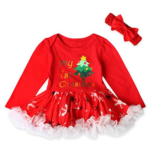 Santa Outfits For Sale (Hot Sale Infant Baby Girl First Christmas Outfits Santa Print Princess Tutu Dresses Headband Clothes Set (6-12M, A))