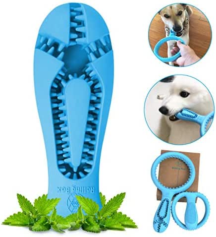 ROLLING BOX Dog Toothbrush Chew Toys Puppy Tooth Cleaning Dental Care Stick Durable Natural Rubber Chewing Ring Interactive Toys for Small Pets