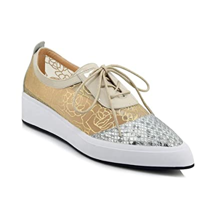 b0daa284c8 Amazon.com: yan Women's Fashion Shoes New Spring Lace Up Deck Shoes Leather  + Mesh Ladies Low-Top Casual Shoes Sequin Pointed Flat Platform Shoes,Gold,36:  ...