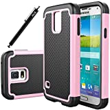 E LV SAMs5-001hyb Hybrid Dual Layer Armor Defender Case for Galaxy S5 and Galaxy i9600 Bundle with Stylus, Screen Protector and Microfiber Sticker Digital Cleaner - Baby Pink