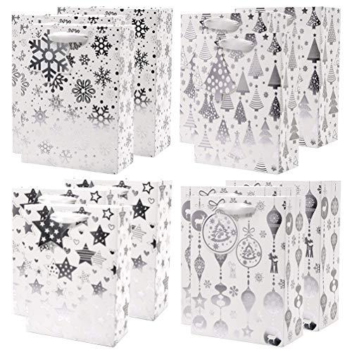 UNIQOOO 12Pcs Premium Assorted Silver Metallic Christmas Gift Bags Bulk, 7x3¼x9¼, Recyclable Paper Retail Shopping Bags, Ribbon Handle/MatchingTag, Wedding, Birthday Party, Holiday, Christmas