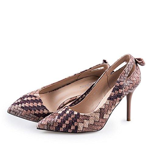 Chaussures Creux à Pointes B Printemps Talon Minces Hauts Lady Chaussures Talons Tisser qXEx55wT